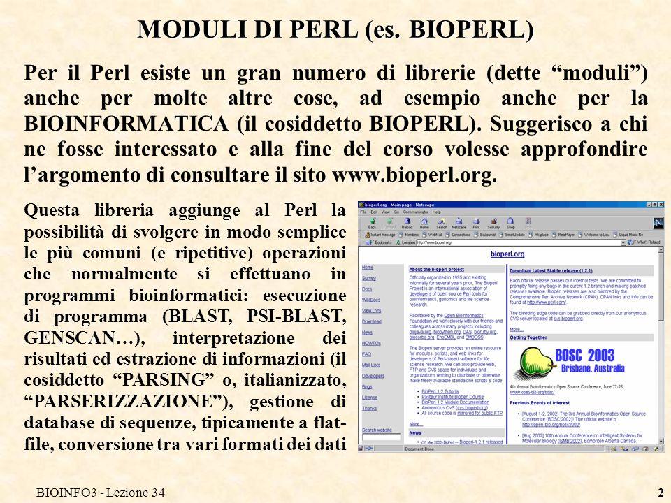 BIOINFO3 - Lezione 342 MODULI DI PERL (es.