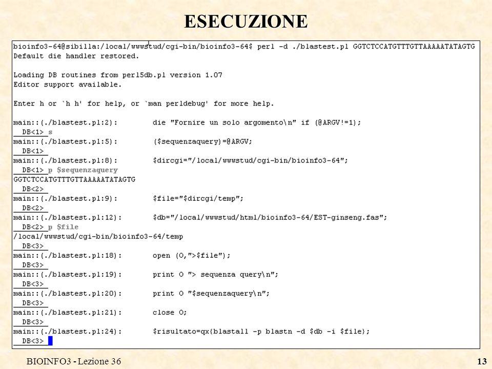BIOINFO3 - Lezione 3613 ESECUZIONE
