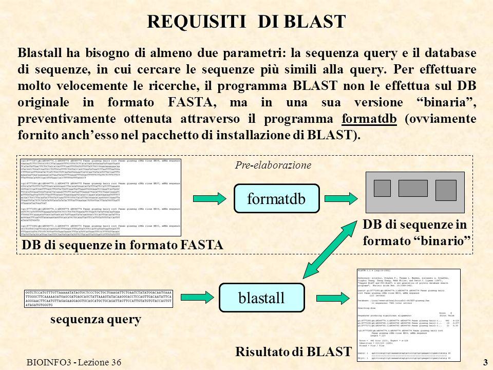 BIOINFO3 - Lezione 363 REQUISITI DI BLAST Blastall ha bisogno di almeno due parametri: la sequenza query e il database di sequenze, in cui cercare le sequenze più simili alla query.