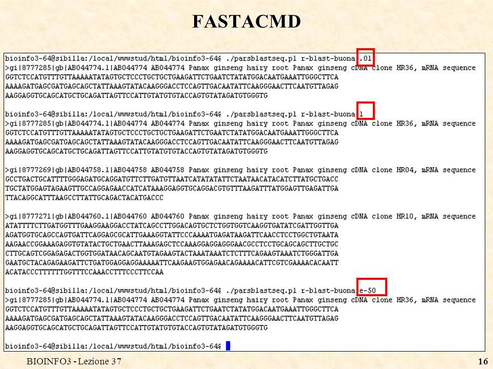 BIOINFO3 - Lezione 3716 FASTACMD