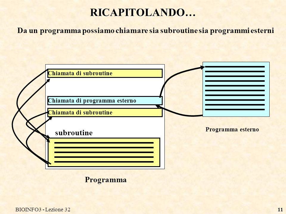 BIOINFO3 - Lezione 3211 RICAPITOLANDO… Chiamata di subroutine Chiamata di programma esterno Programma Chiamata di subroutine Programma esterno subrout