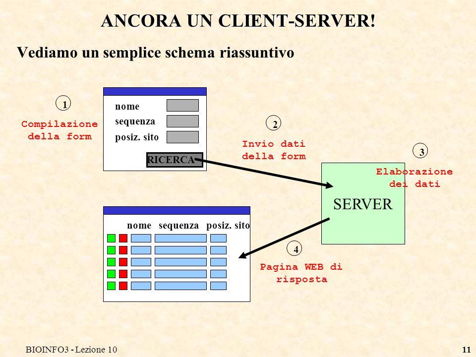 BIOINFO3 - Lezione 1011 ANCORA UN CLIENT-SERVER.