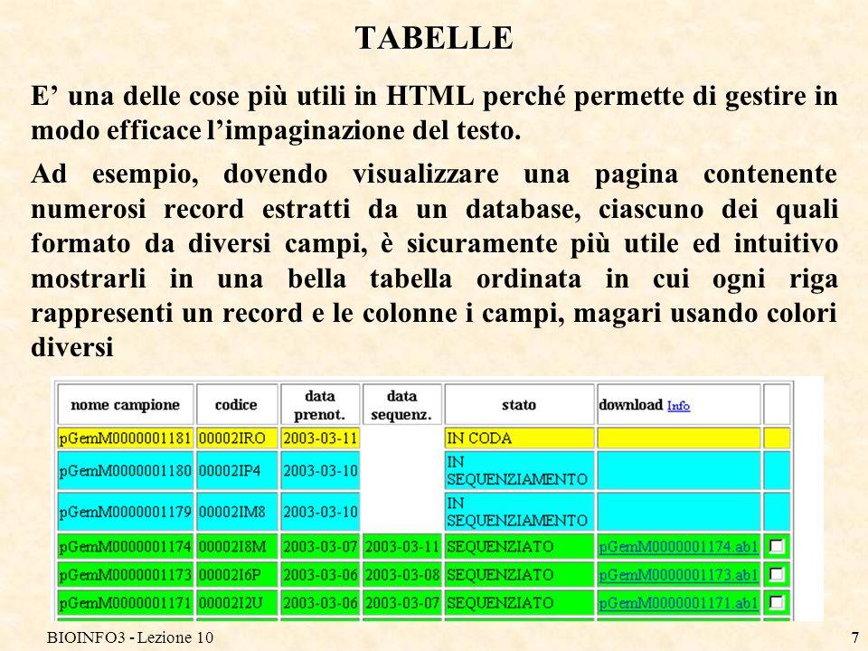 BIOINFO3 - Lezione 108 TABELLE Una tabella è racchiusa tra i tag e.