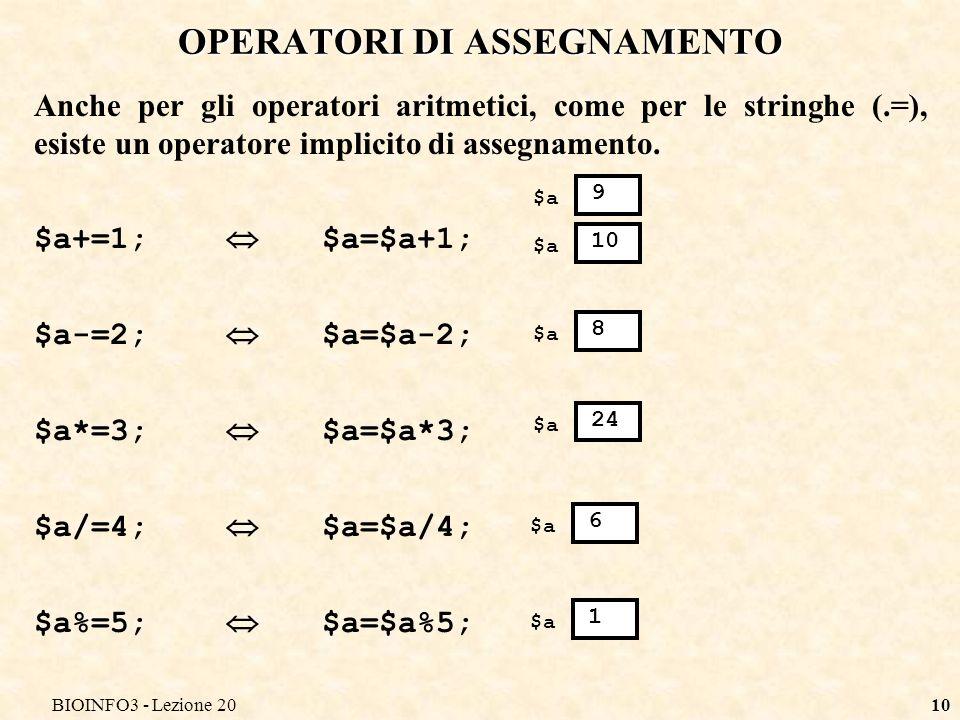 BIOINFO3 - Lezione 2010 OPERATORI DI ASSEGNAMENTO Anche per gli operatori aritmetici, come per le stringhe (.=), esiste un operatore implicito di assegnamento.
