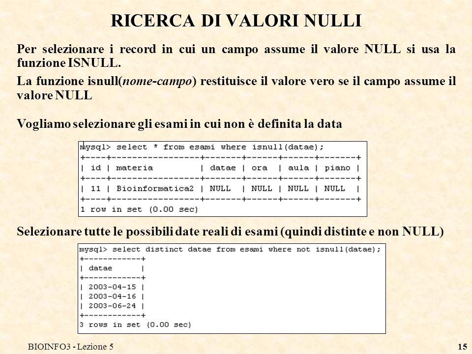 BIOINFO3 - Lezione 514 ESEMPI DI OPERAZIONI LOGICHE Data la ormai consueta tabella Dire cosa restituiscono i seguenti comandi >2 and <7: 1 NO, 2 NO, 3 SI, 5 SI, 7 NO, 11 NO Sono selezionati solo i record in cui la condizione del WHERE è vera cioè sono vere entrambe le condizioni in AND >2 or <7: 1 SI, 2 SI, 3 SI, 5 SI, 7 SI, 11 SI