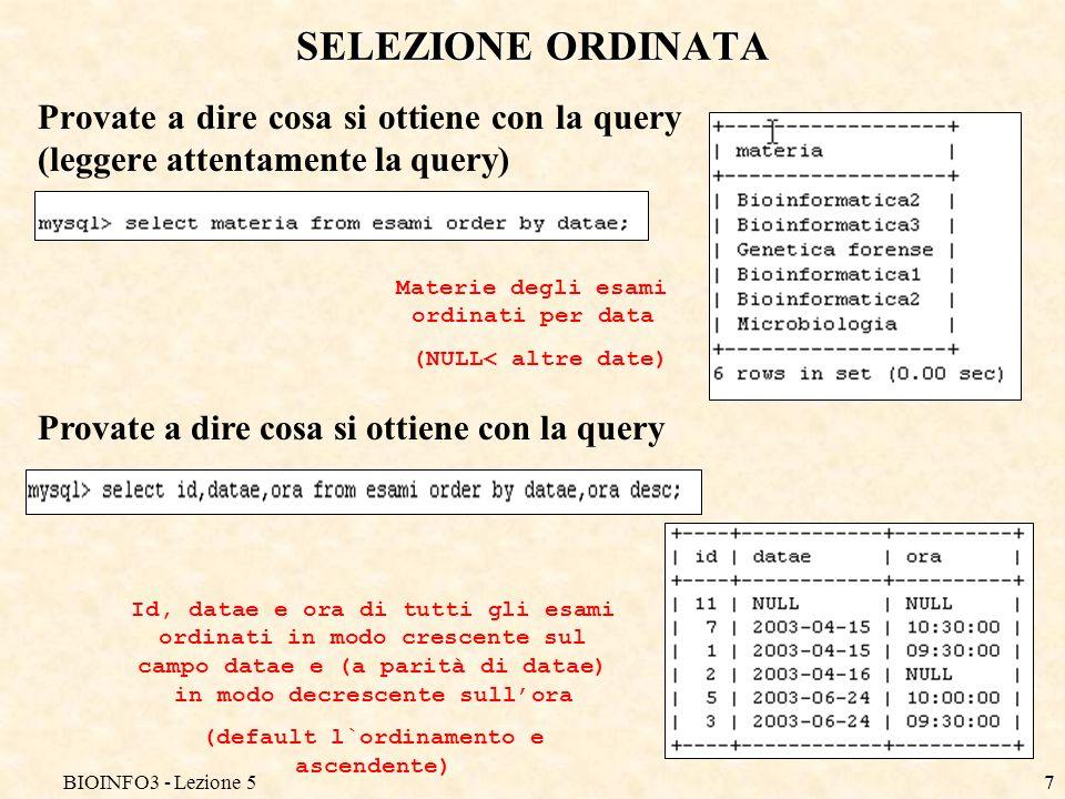 BIOINFO3 - Lezione 56 SELEZIONE ORDINATA E possibile ordinare i record selezionati da una qualsiasi query secondo il valore di un campo (il campo potrebbe anche non essere scelto tra quelli mostrati)