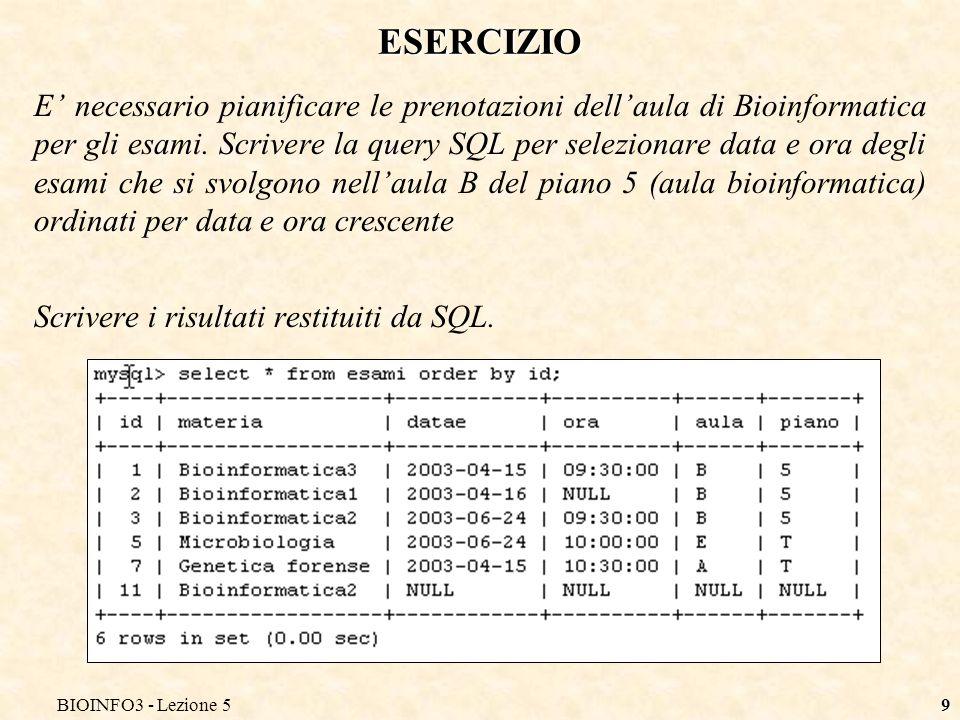 BIOINFO3 - Lezione 58 CONDIZIONI SULLE QUERY Si utilizza una clausola where per indicare dei criteri di selezione.