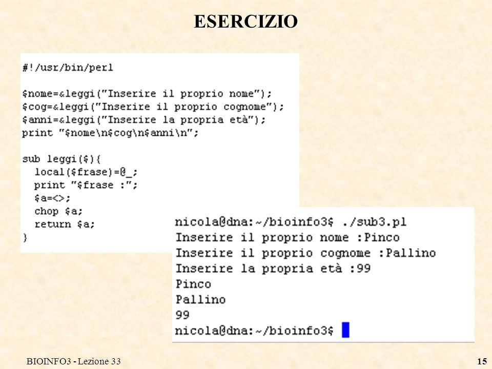 BIOINFO3 - Lezione 3315 ESERCIZIO