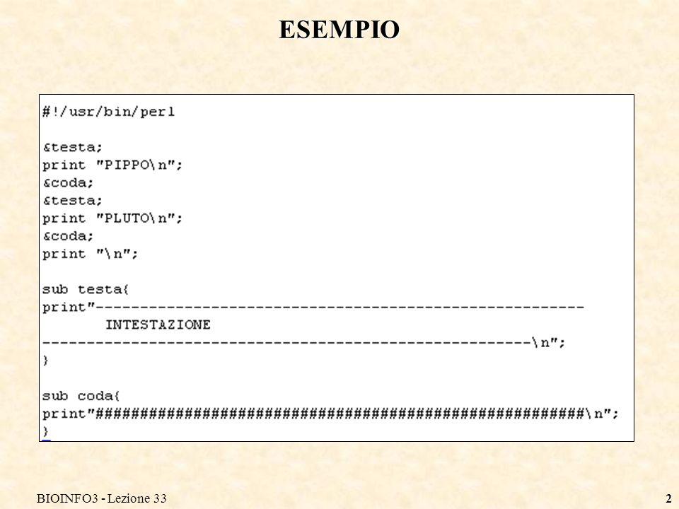 BIOINFO3 - Lezione 3313 ESEMPIO