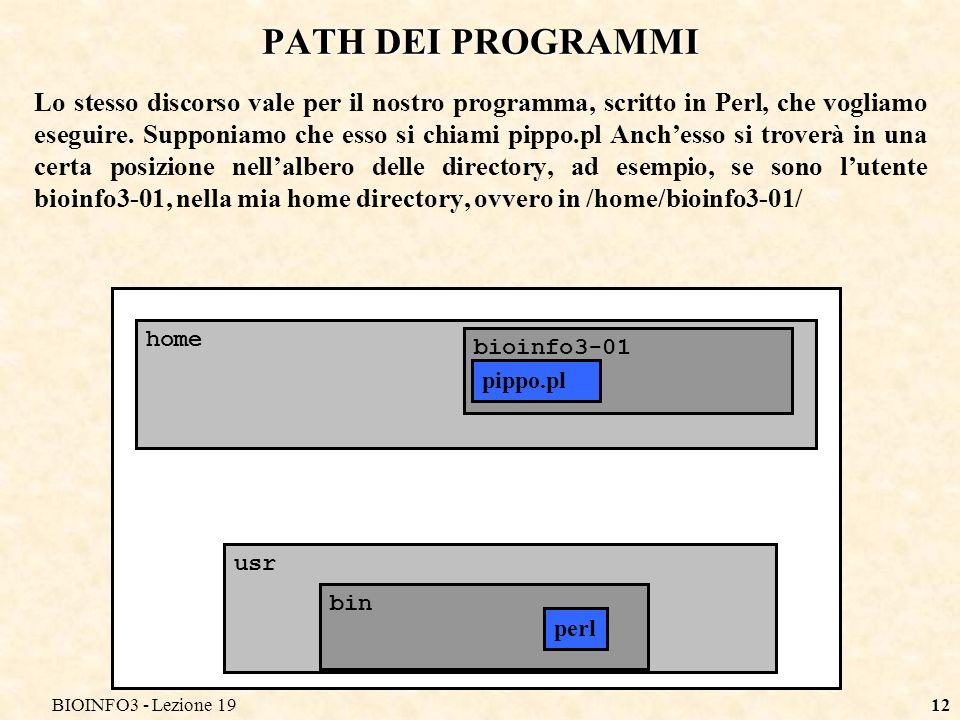 BIOINFO3 - Lezione 1912 PATH DEI PROGRAMMI Lo stesso discorso vale per il nostro programma, scritto in Perl, che vogliamo eseguire. Supponiamo che ess