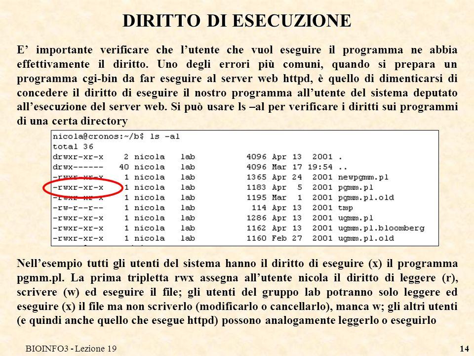 BIOINFO3 - Lezione 1914 DIRITTO DI ESECUZIONE E importante verificare che lutente che vuol eseguire il programma ne abbia effettivamente il diritto. U