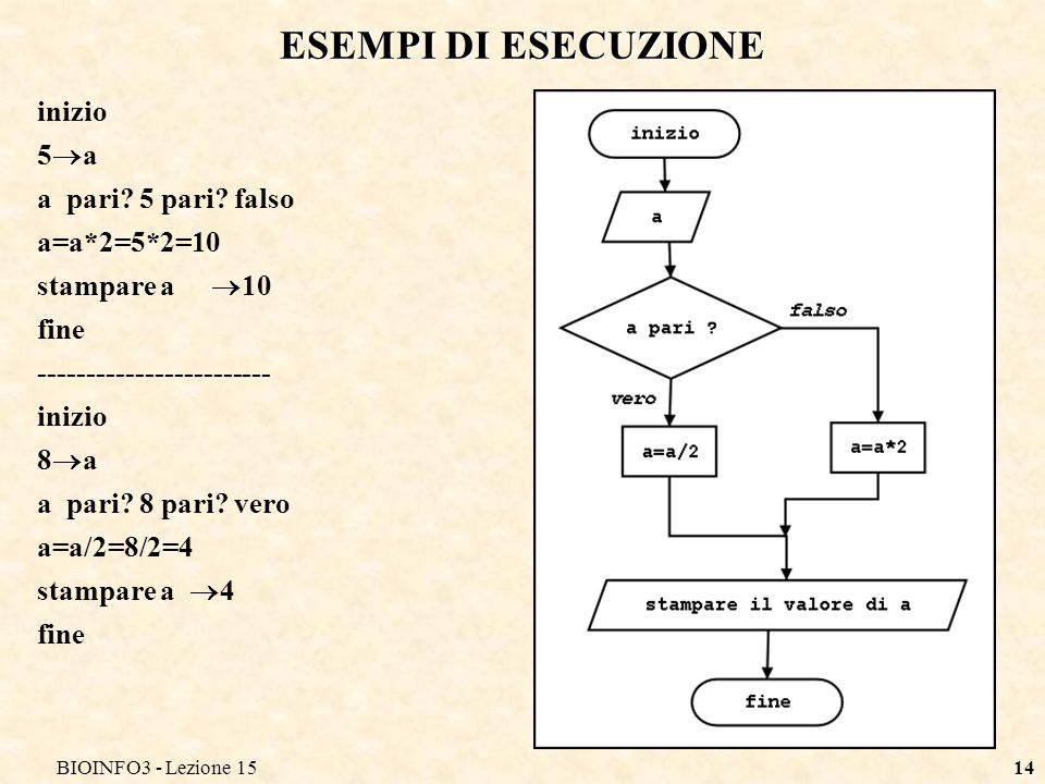 BIOINFO3 - Lezione 1514 ESEMPI DI ESECUZIONE inizio 5 a a pari? 5 pari? falso a=a*2=5*2=10 stampare a 10 fine ------------------------ inizio 8 a a pa