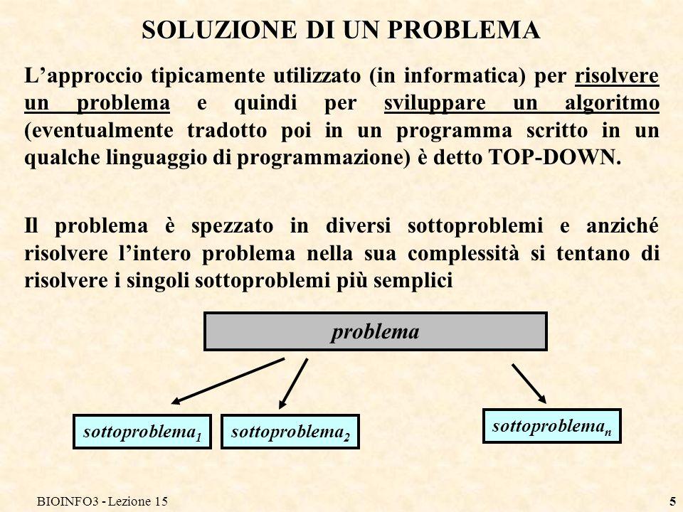 BIOINFO3 - Lezione 155 SOLUZIONE DI UN PROBLEMA Lapproccio tipicamente utilizzato (in informatica) per risolvere un problema e quindi per sviluppare u