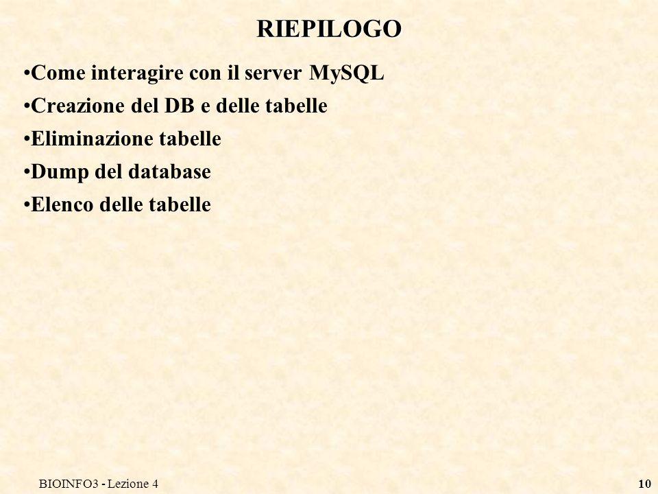 BIOINFO3 - Lezione 410 RIEPILOGO Come interagire con il server MySQL Creazione del DB e delle tabelle Eliminazione tabelle Dump del database Elenco delle tabelle