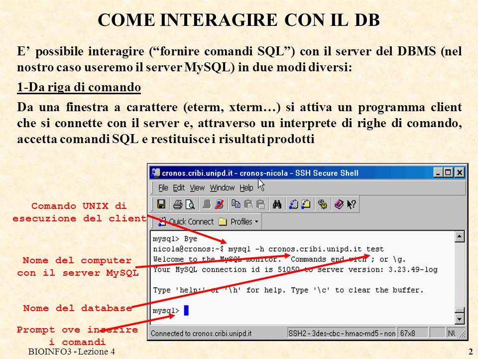 BIOINFO3 - Lezione 42 COME INTERAGIRE CON IL DB E possibile interagire (fornire comandi SQL) con il server del DBMS (nel nostro caso useremo il server MySQL) in due modi diversi: 1-Da riga di comando Da una finestra a carattere (eterm, xterm…) si attiva un programma client che si connette con il server e, attraverso un interprete di righe di comando, accetta comandi SQL e restituisce i risultati prodotti Comando UNIX di esecuzione del client Nome del computer con il server MySQL Nome del database Prompt ove inserire i comandi