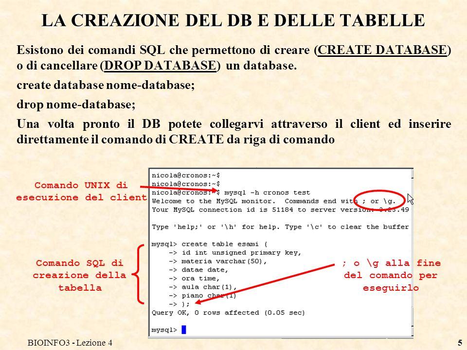 BIOINFO3 - Lezione 45 LA CREAZIONE DEL DB E DELLE TABELLE Esistono dei comandi SQL che permettono di creare (CREATE DATABASE) o di cancellare (DROP DATABASE) un database.