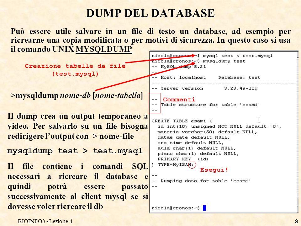 BIOINFO3 - Lezione 48 DUMP DEL DATABASE Può essere utile salvare in un file di testo un database, ad esempio per ricrearne una copia modificata o per motivi di sicurezza.