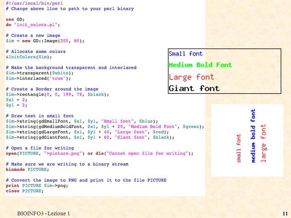 10 Disegnare del testo Esistono due semplici funzioni per scrivere del testo: # Disegna il testo $im->string($font, $x, $y, $string, $color); # Disegna il testo ruotato di 90 gradi $im->stringUp($font, $x, $y, $string, $color); $x e $y definiscono la coordinata dell`angolo superiore sinistro del rettangolo che virtualmente contiene il testo