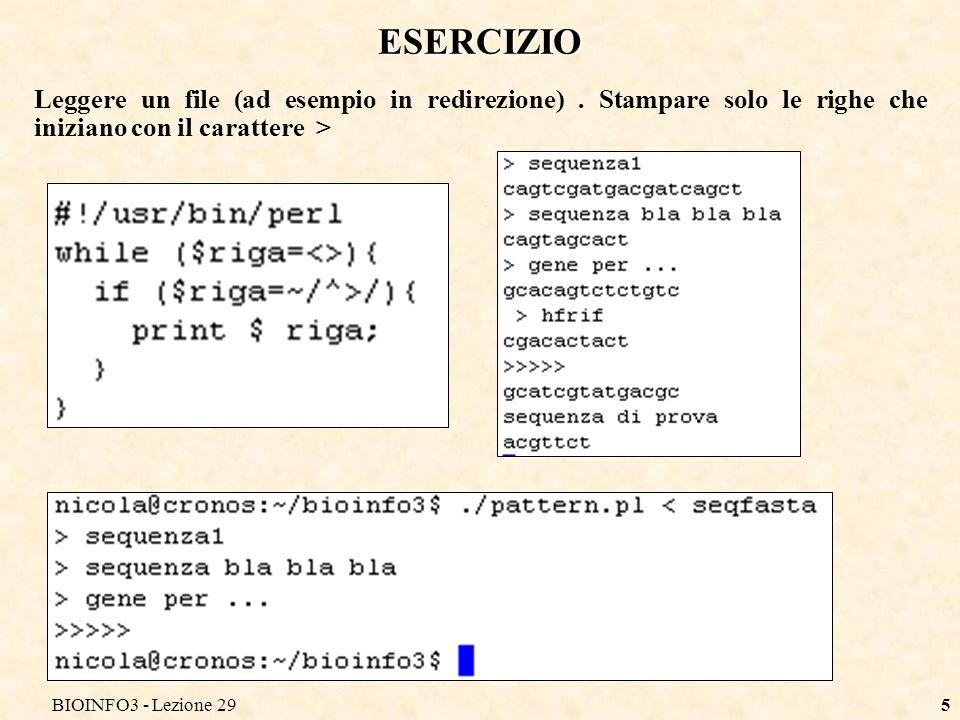 BIOINFO3 - Lezione 296 ESTRAZIONE DEI PATTERN Se si è interessati a ricavare il valore effettivo delle sottostringhe che hanno soddisfatto certi pattern (ad esempio anche solo una parte di una espressione regolare) si possono racchiudere questi pattern tra parentesi tonde.