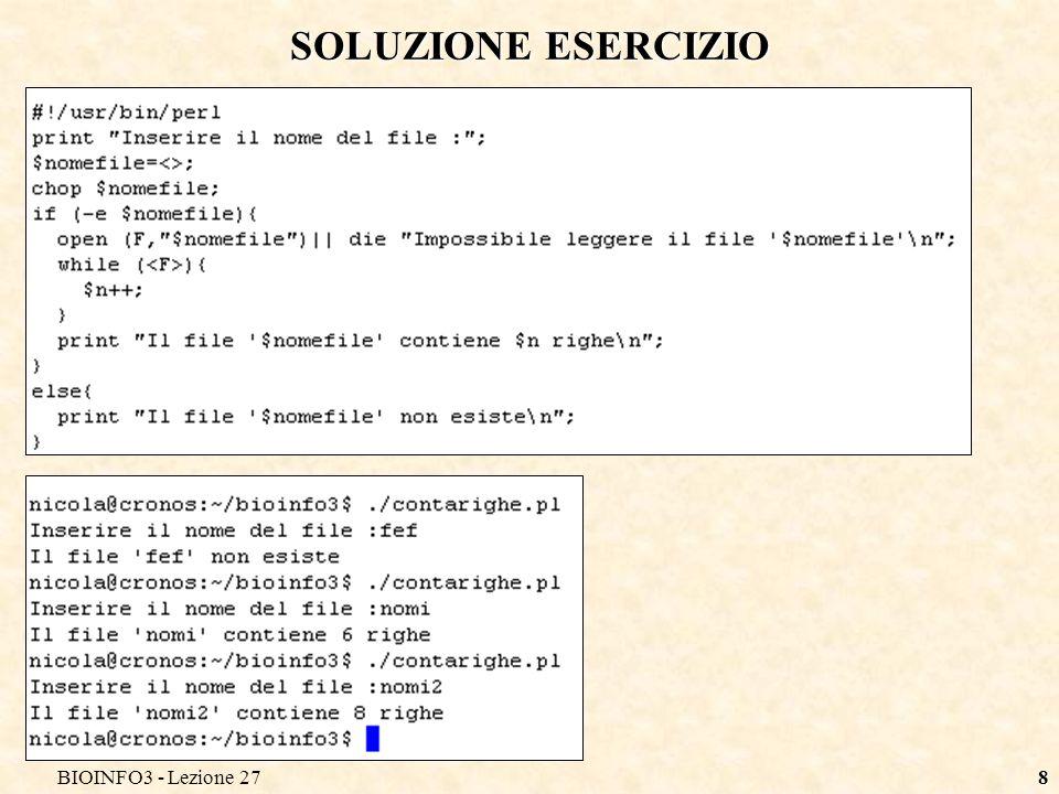 BIOINFO3 - Lezione 278 SOLUZIONE ESERCIZIO