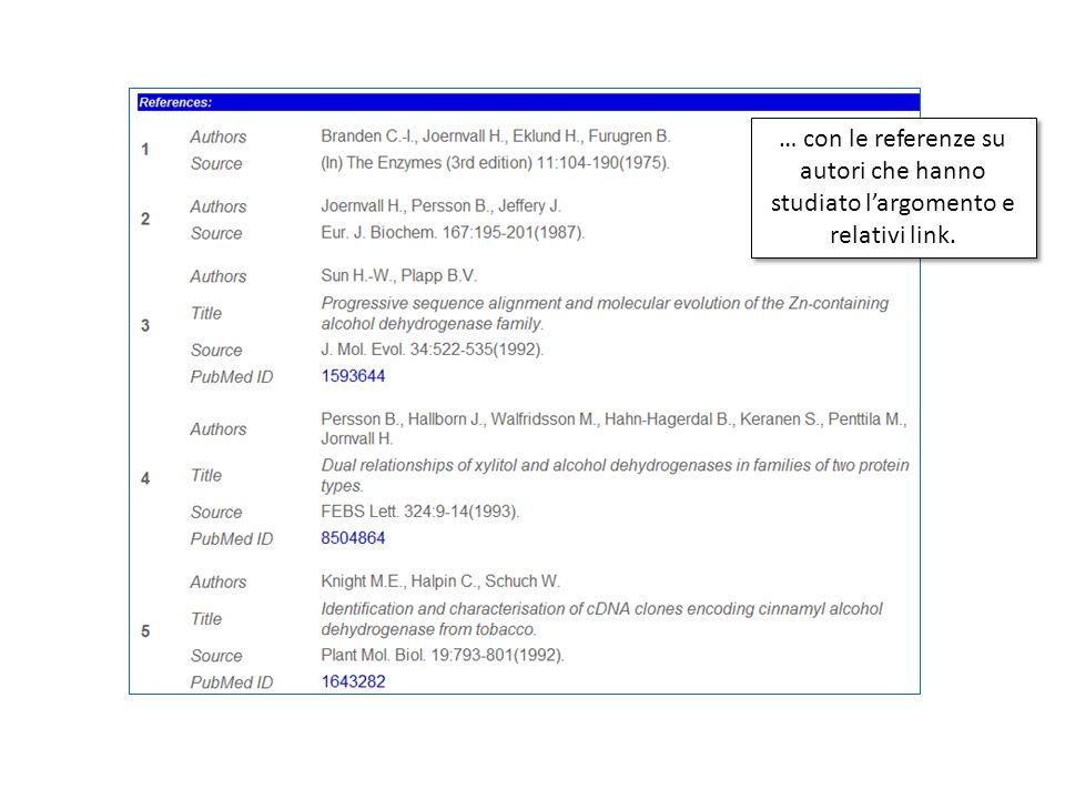 … con le referenze su autori che hanno studiato largomento e relativi link.