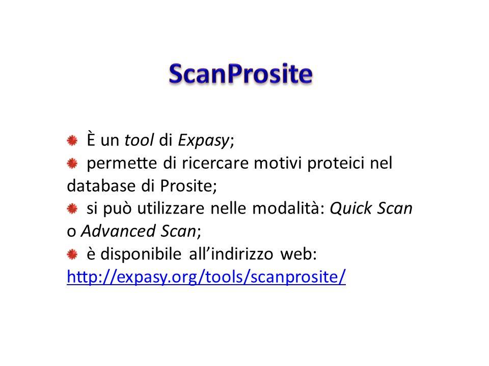 È un tool di Expasy; permette di ricercare motivi proteici nel database di Prosite; si può utilizzare nelle modalità: Quick Scan o Advanced Scan; è di