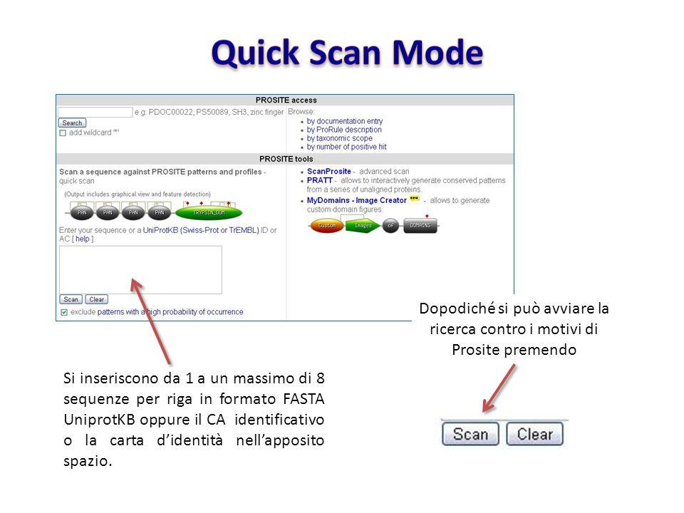 Si inseriscono da 1 a un massimo di 8 sequenze per riga in formato FASTA UniprotKB oppure il CA identificativo o la carta didentità nellapposito spazi
