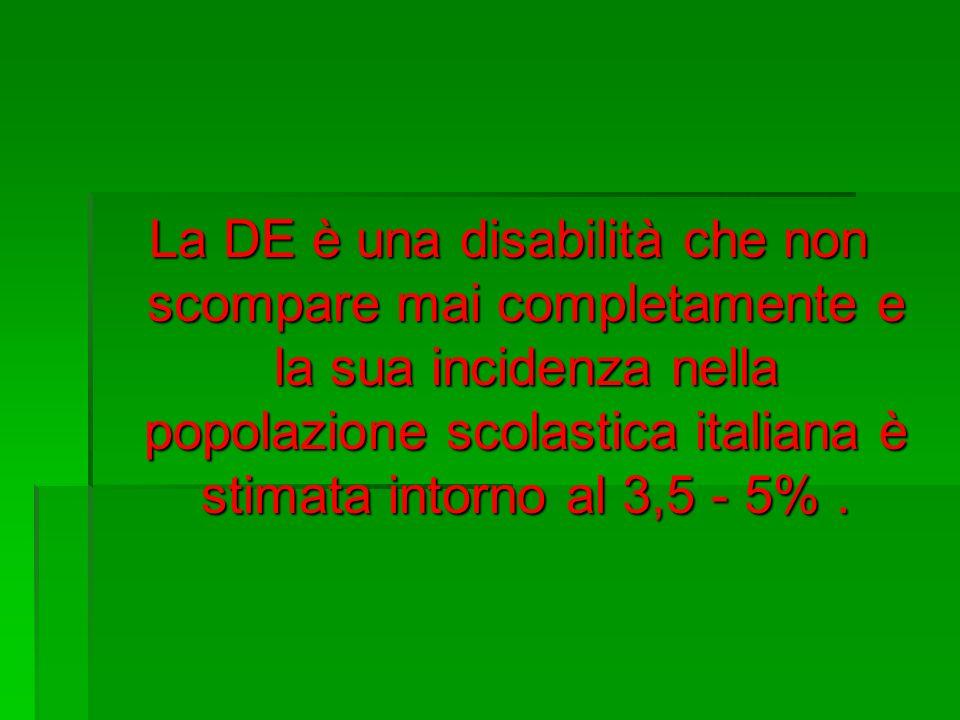 La DE è una disabilità che non scompare mai completamente e la sua incidenza nella popolazione scolastica italiana è stimata intorno al 3,5 - 5%.