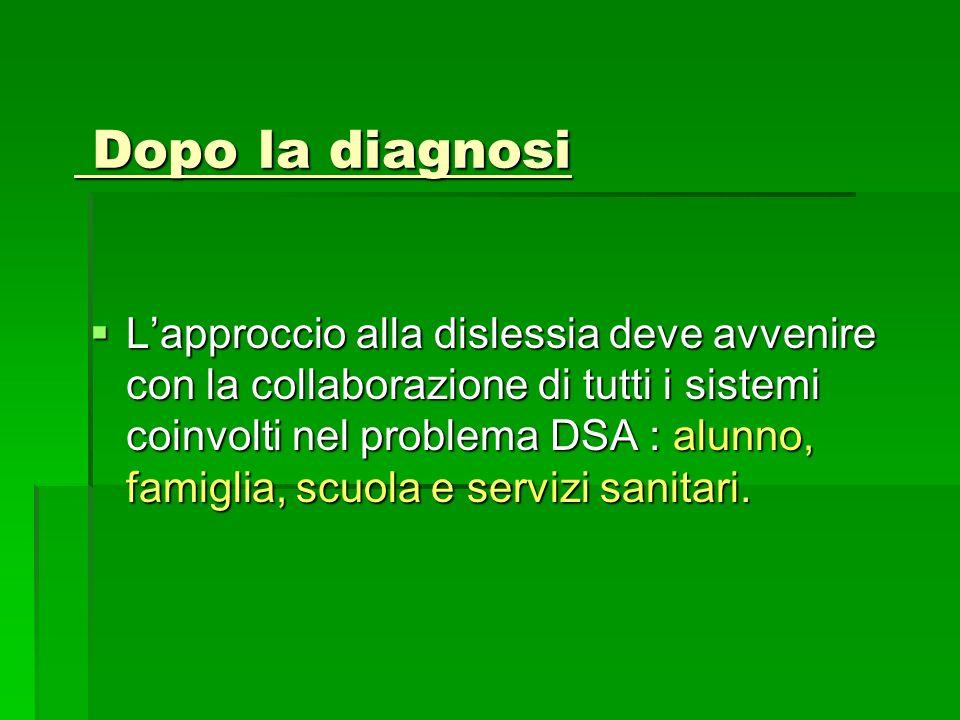 Dopo la diagnosi Dopo la diagnosi Lapproccio alla dislessia deve avvenire con la collaborazione di tutti i sistemi coinvolti nel problema DSA : alunno, famiglia, scuola e servizi sanitari.