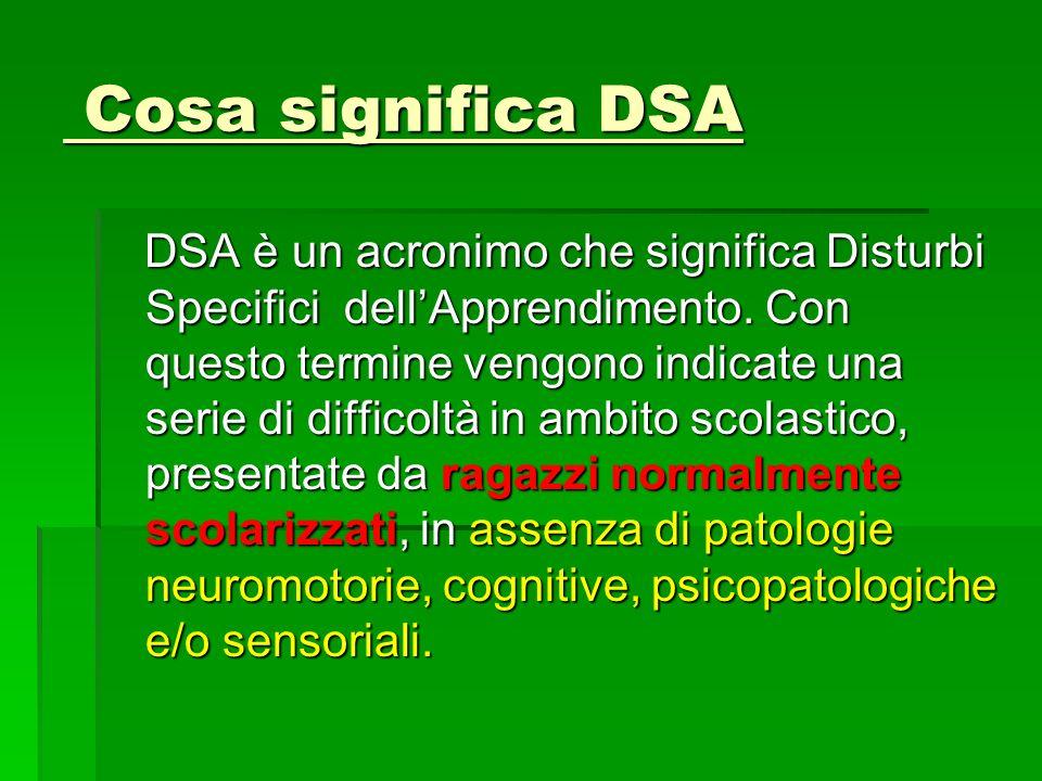 Cosa significa DSA Cosa significa DSA DSA è un acronimo che significa Disturbi Specifici dellApprendimento.