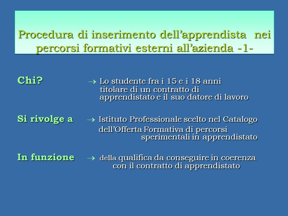 Procedura di inserimento dellapprendista nei percorsi formativi esterni allazienda -1- Chi.
