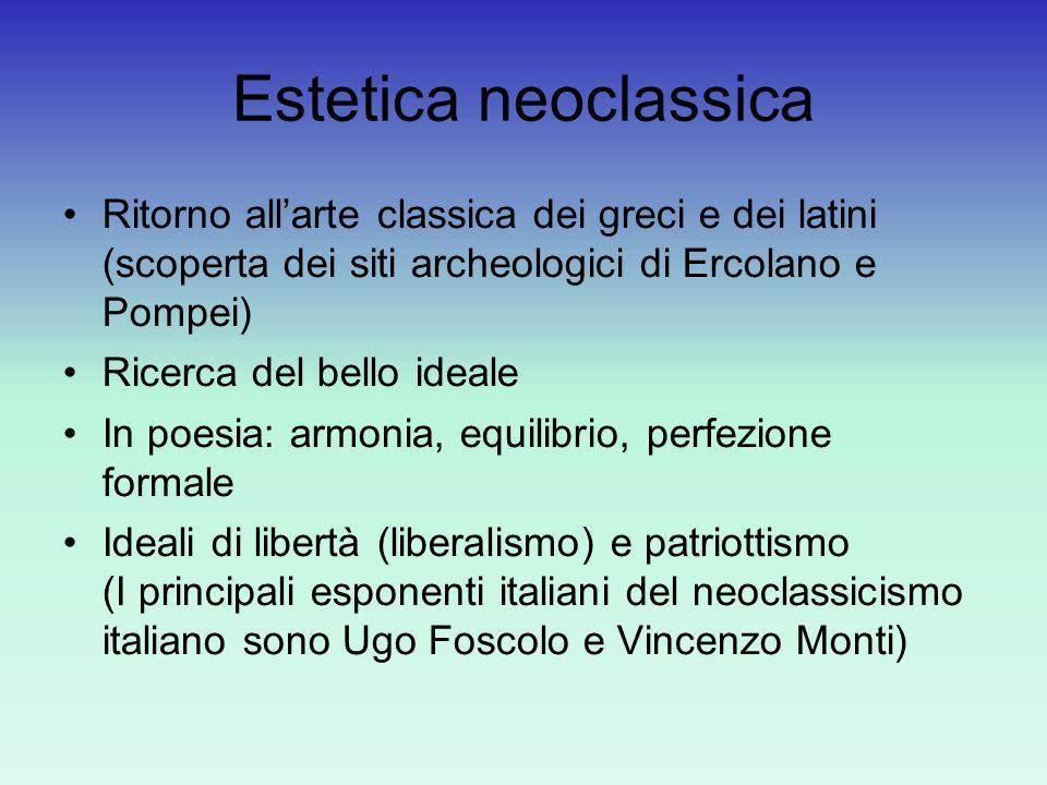 Estetica neoclassica Ritorno allarte classica dei greci e dei latini (scoperta dei siti archeologici di Ercolano e Pompei) Ricerca del bello ideale In