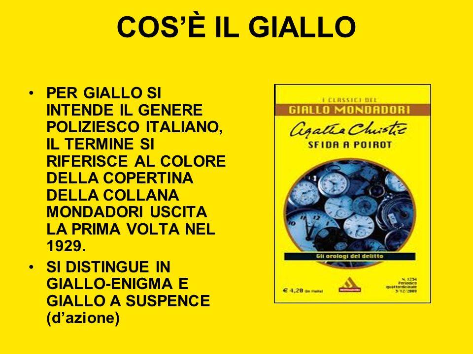 COSÈ IL GIALLO PER GIALLO SI INTENDE IL GENERE POLIZIESCO ITALIANO, IL TERMINE SI RIFERISCE AL COLORE DELLA COPERTINA DELLA COLLANA MONDADORI USCITA L