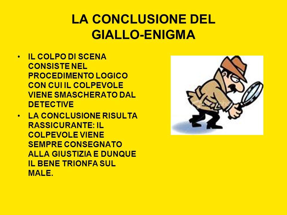 LA CONCLUSIONE DEL GIALLO-ENIGMA IL COLPO DI SCENA CONSISTE NEL PROCEDIMENTO LOGICO CON CUI IL COLPEVOLE VIENE SMASCHERATO DAL DETECTIVE LA CONCLUSION