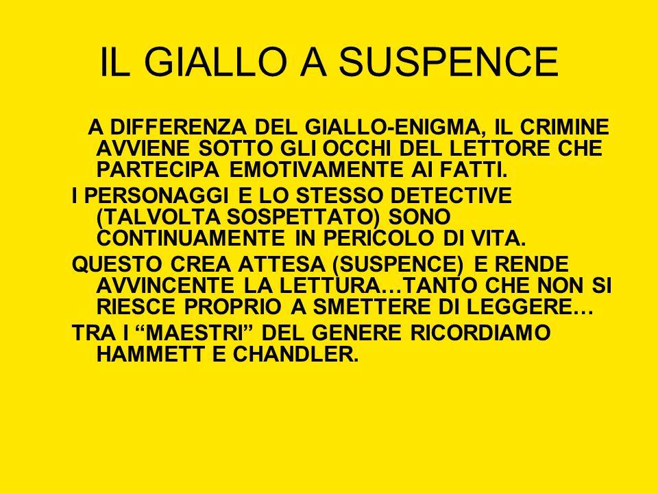 IL GIALLO A SUSPENCE A DIFFERENZA DEL GIALLO-ENIGMA, IL CRIMINE AVVIENE SOTTO GLI OCCHI DEL LETTORE CHE PARTECIPA EMOTIVAMENTE AI FATTI. I PERSONAGGI