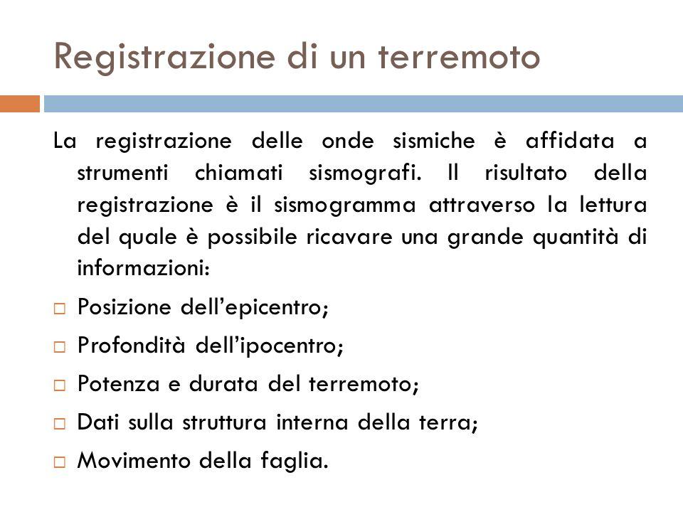 Registrazione di un terremoto La registrazione delle onde sismiche è affidata a strumenti chiamati sismografi. Il risultato della registrazione è il s