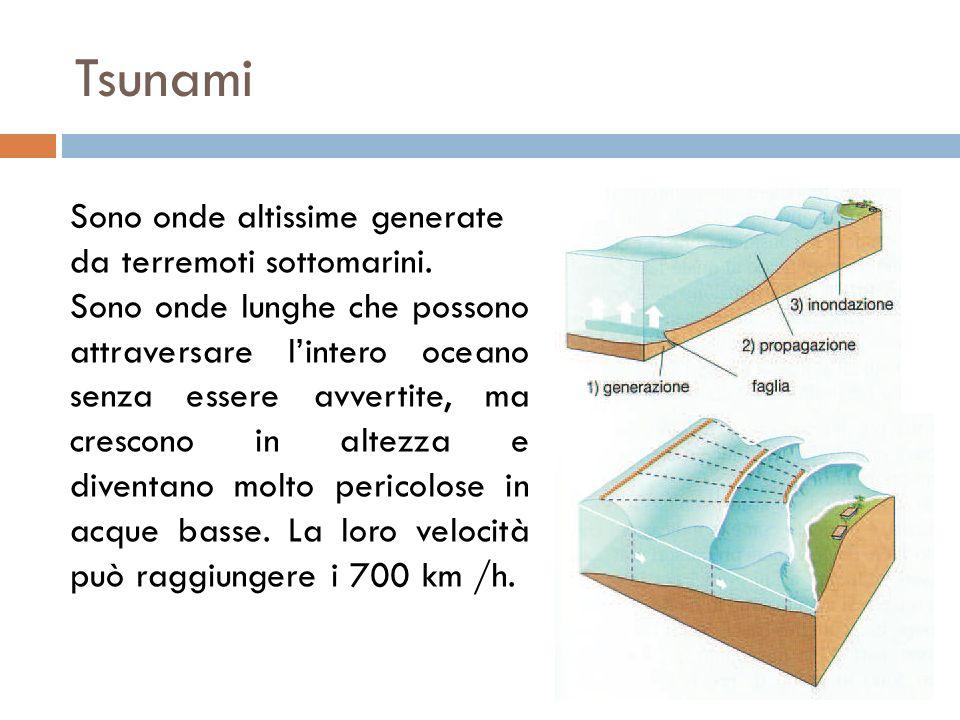 Tsunami Sono onde altissime generate da terremoti sottomarini. Sono onde lunghe che possono attraversare lintero oceano senza essere avvertite, ma cre