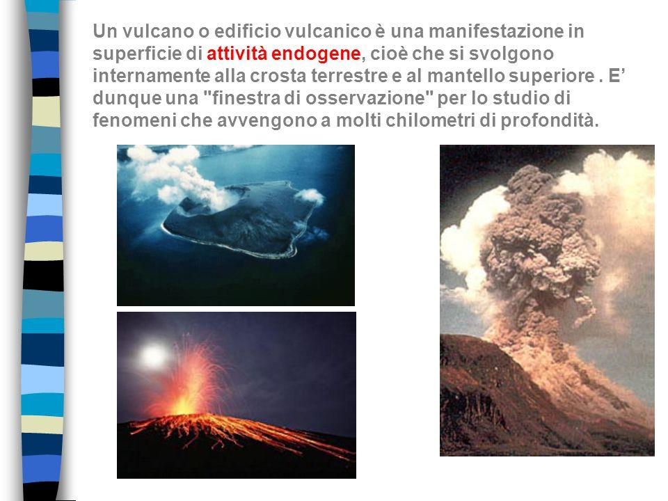 STRUTTURA DI UN VULCANO Magma: è il materiale di origine delle rocce ignee e si forma per la fusione parziale di materiale allinterno della astenosfera (mantello) o della crosta Lava: è il magma che raggiunge la superficie, perde la componente gassosa e viene eruttato in seguito ad eruzioni effusive Edificio vulcanico: struttura esterna del vulcano, spesso di forma pseudoconica Serbatoio magmatico (o camera magmatica): è il bacino di alimentazione delledificio vulcanico dove il magma ristagna a profondità tra i 2 e i 10 km) e dal quale poi periodicamente risale verso la superficie attraverso il condotto vulcanico.