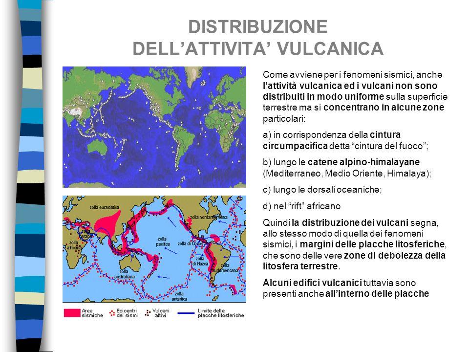 DISTRIBUZIONE DELLATTIVITA VULCANICA Come avviene per i fenomeni sismici, anche lattività vulcanica ed i vulcani non sono distribuiti in modo uniforme