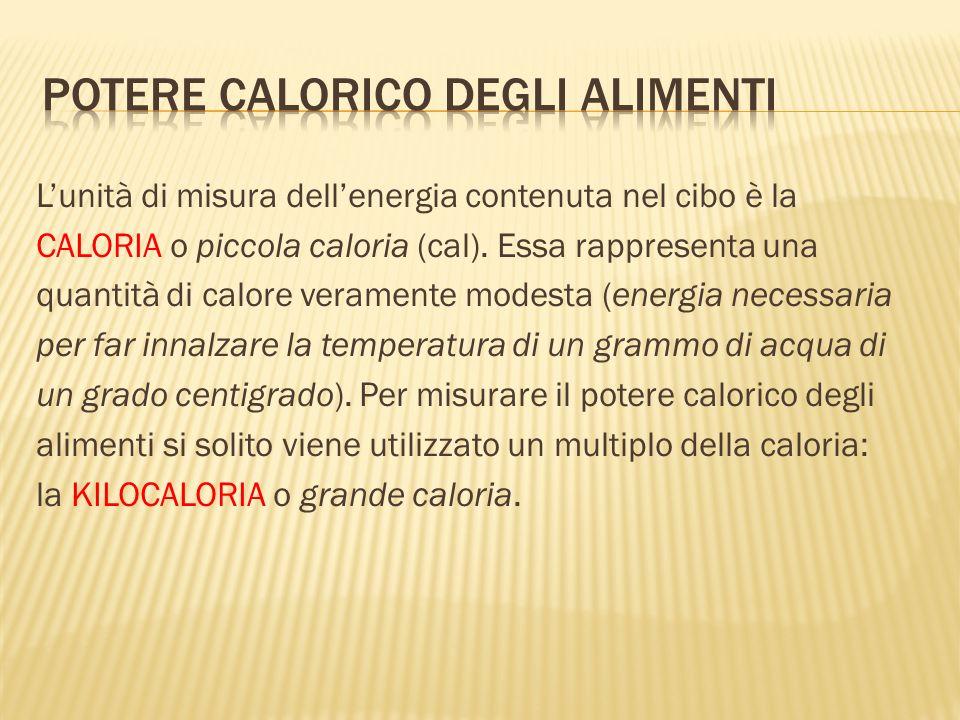 Lunità di misura dellenergia contenuta nel cibo è la CALORIA o piccola caloria (cal). Essa rappresenta una quantità di calore veramente modesta (energ