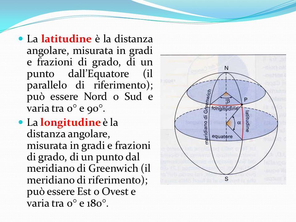 La latitudine è la distanza angolare, misurata in gradi e frazioni di grado, di un punto dallEquatore (il parallelo di riferimento); può essere Nord o