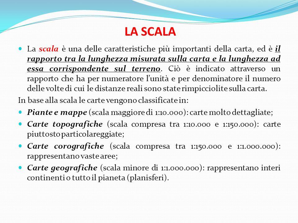 LA SCALA La scala è una delle caratteristiche più importanti della carta, ed è il rapporto tra la lunghezza misurata sulla carta e la lunghezza ad ess
