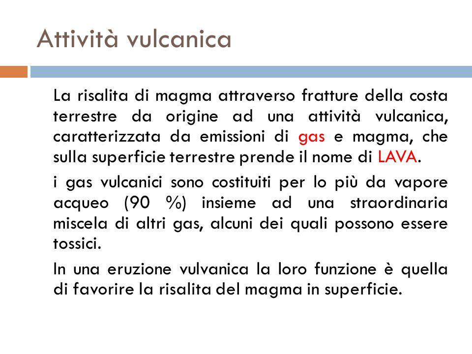 Attività vulcanica La risalita di magma attraverso fratture della costa terrestre da origine ad una attività vulcanica, caratterizzata da emissioni di