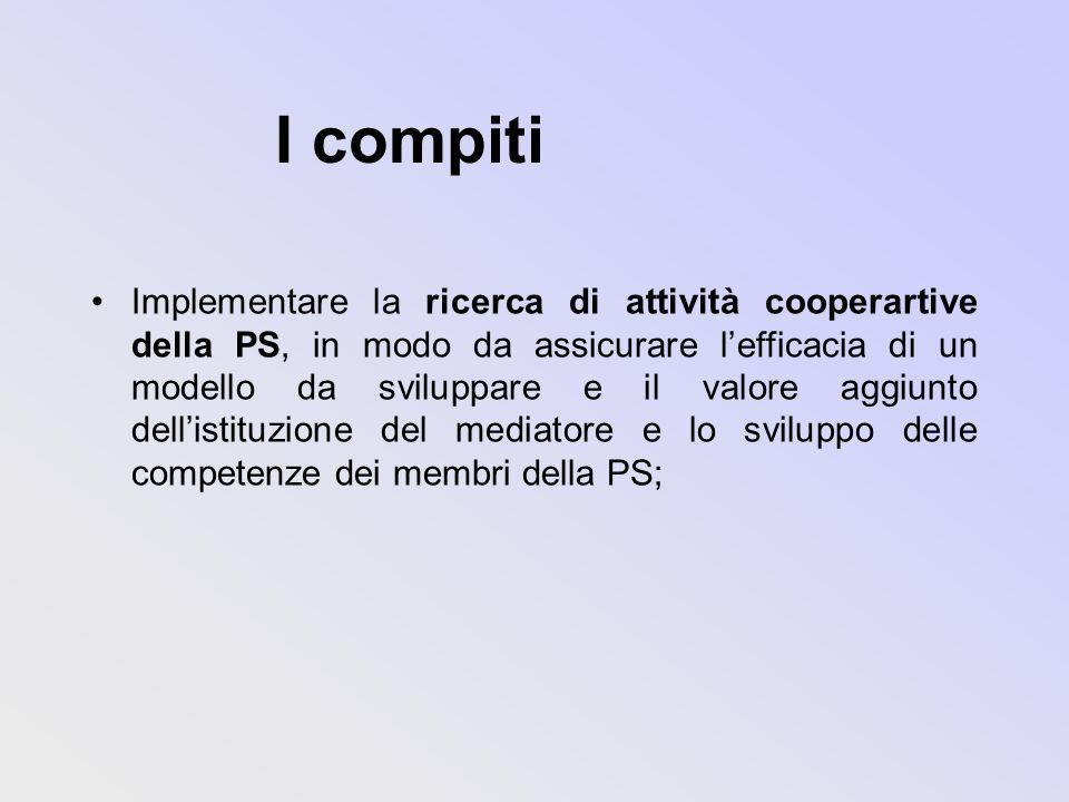 I compiti Implementare la ricerca di attività cooperartive della PS, in modo da assicurare lefficacia di un modello da sviluppare e il valore aggiunto dellistituzione del mediatore e lo sviluppo delle competenze dei membri della PS;