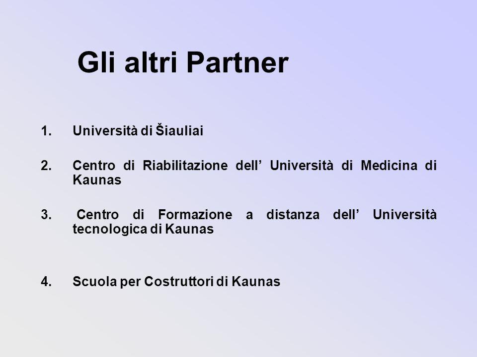 Gli altri Partner 1.Università di Šiauliai 2.Centro di Riabilitazione dell Università di Medicina di Kaunas 3.