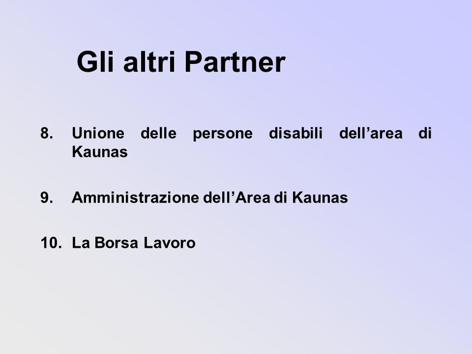 Gli altri Partner 8.Unione delle persone disabili dellarea di Kaunas 9.Amministrazione dellArea di Kaunas 10.La Borsa Lavoro
