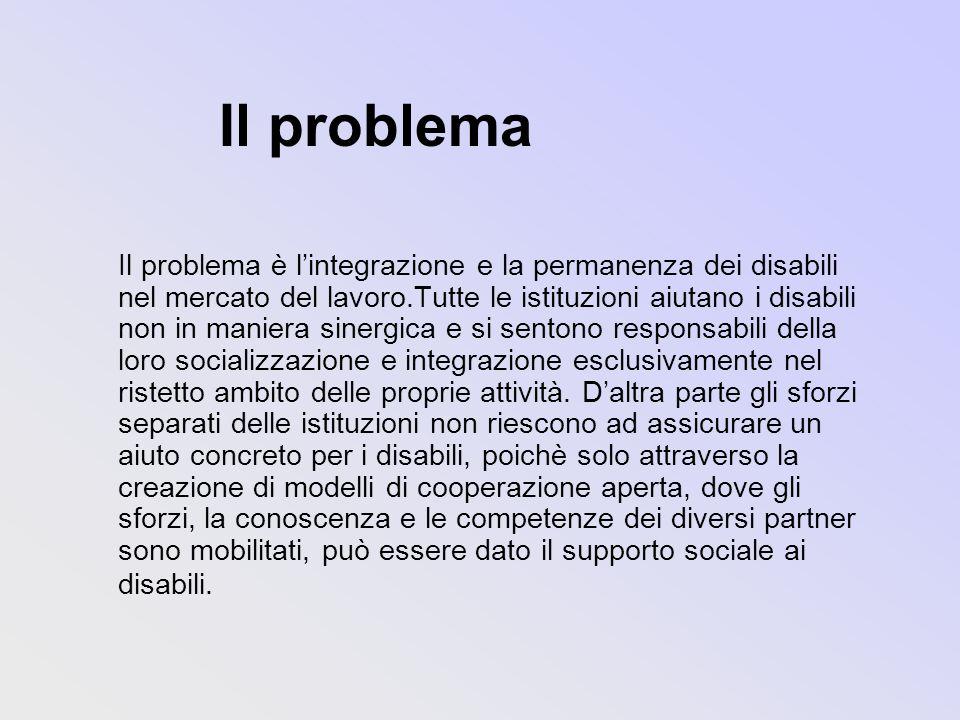Il problema Il problema è lintegrazione e la permanenza dei disabili nel mercato del lavoro.Tutte le istituzioni aiutano i disabili non in maniera sinergica e si sentono responsabili della loro socializzazione e integrazione esclusivamente nel ristetto ambito delle proprie attività.