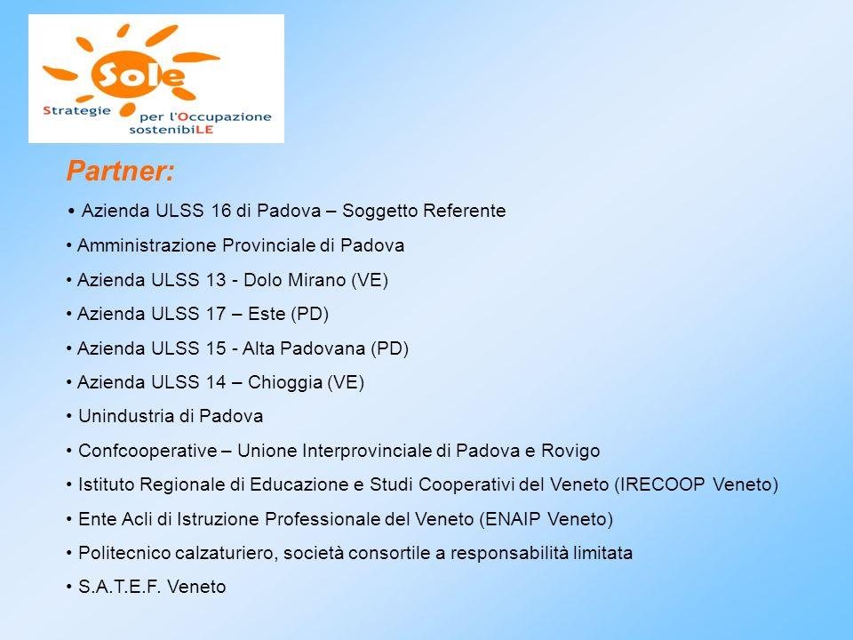 Partner: Azienda ULSS 16 di Padova – Soggetto Referente Amministrazione Provinciale di Padova Azienda ULSS 13 - Dolo Mirano (VE) Azienda ULSS 17 – Est