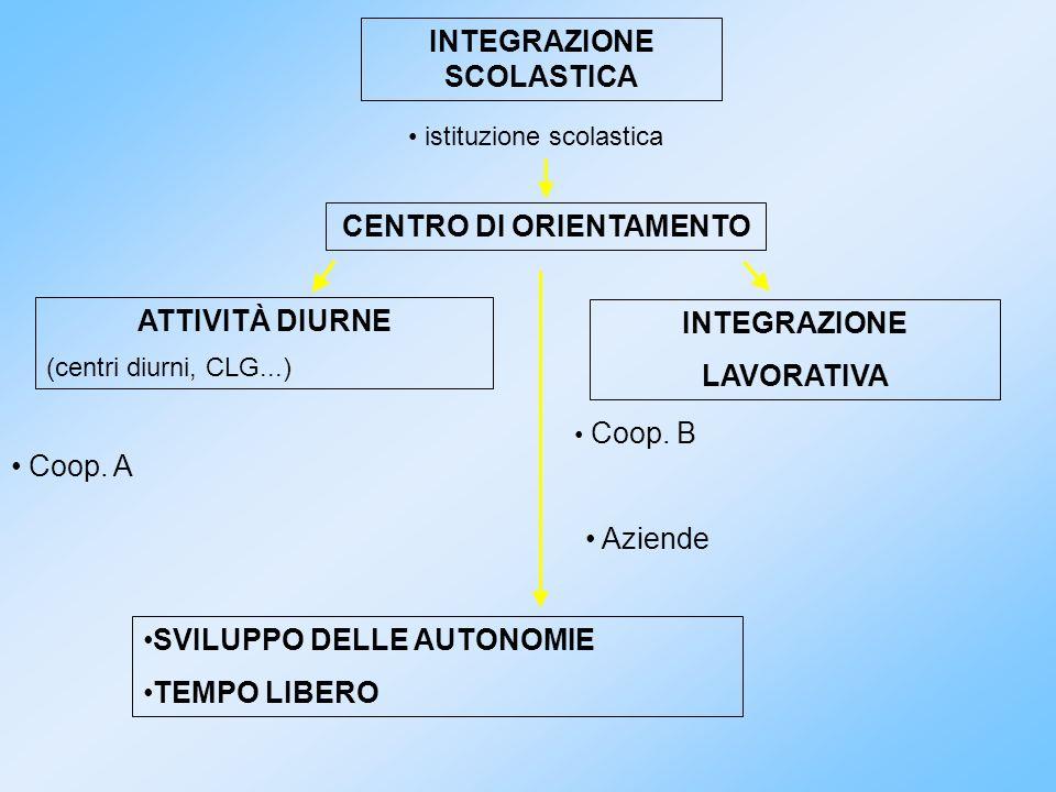 INTEGRAZIONE SCOLASTICA CENTRO DI ORIENTAMENTO ATTIVITÀ DIURNE (centri diurni, CLG...) INTEGRAZIONE LAVORATIVA istituzione scolastica Coop. A Coop. B