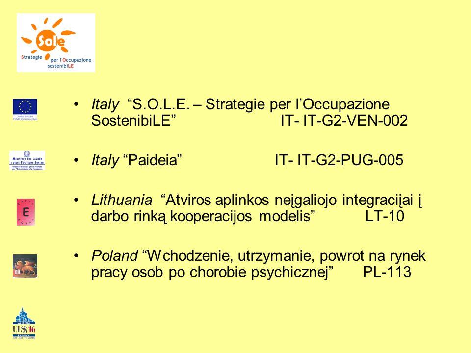 Italy S.O.L.E. – Strategie per lOccupazione SostenibiLE IT- IT-G2-VEN-002 Italy Paideia IT- IT-G2-PUG-005 Lithuania Atviros aplinkos neįgaliojo integr